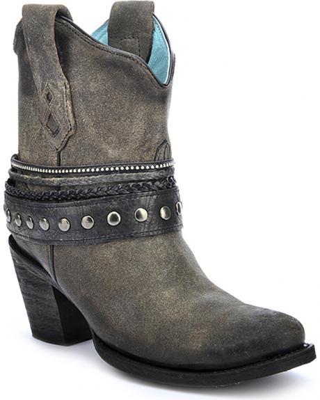 Corral Women's Studded Strap Ankle Boots - Round Toe