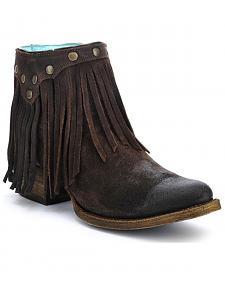 Corral Fringe Ankle Boots - Round Toe