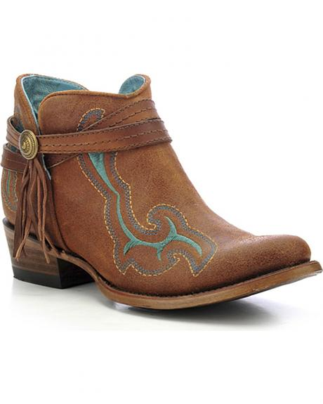 Corral Women's Embroidered Ankle Boots - Round Toe