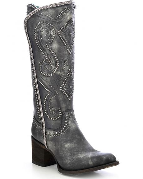 Corral Women's Studded Shaft Whipstich Tall Boots - Round Toe