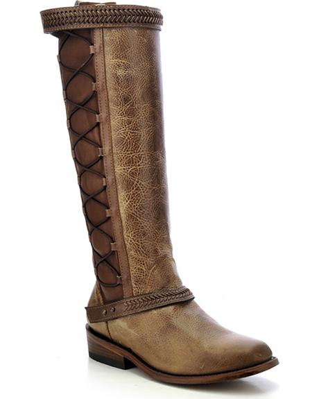 Corral Women's Burnished Lace-Up Tall Boots - Square Toe