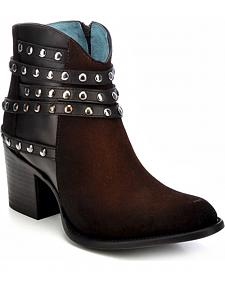 Corral Studded Strap Ankle Boots - Round Toe
