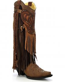 Corral Women's Fringe Collar Cowgirl Boots - Snip Toe