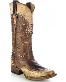 Corral Women's Studded Burnished Cowgirl Boots - Square Toe