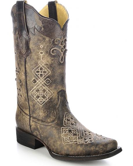 Corral Women's Studded Embroidered Cowgirl Boots - Square Toe