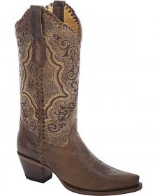 Corral Distressed Whipstitch Cowgirl Boots - Snip Toe
