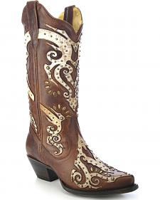 Corral Women's Studded Overlay Cowgirl Boots - Snip Toe