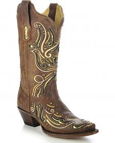 Corral Women's Metallic Studded Inlay Cowgirl Boots - Snip Toe