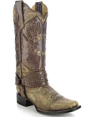 Corral Womens Mask & Harness Cowgirl Boots - Square Toe