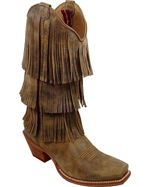 Twisted X Brown Fringe Steppin Out Cowgirl Boots - Square Toe