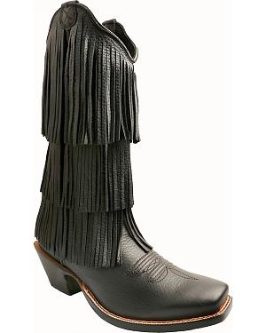 Twisted X Black Fringe Steppin Out Cowgirl Boots - Square Toe