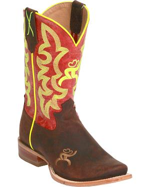 Twisted X Womens Red and Neon Yellow Hooey Cowgirl Boots - Square Toe