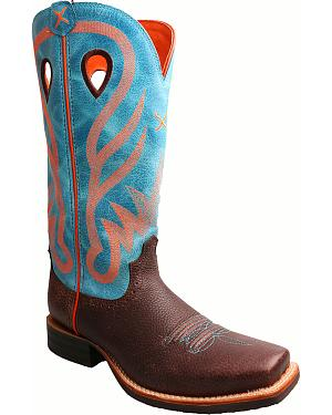 Twisted X Womens Blue Ruff Stock Cowgirl Boots - Square Toe