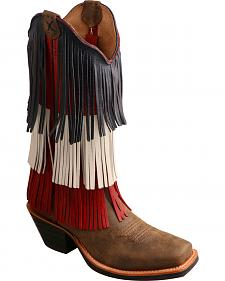 Twisted X Ruff Stock VFW Fringe Cowgirl Boots - Square Toe