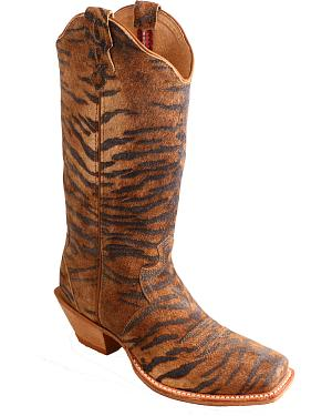 Twisted X Tiger Print Steppin Out Cowgirl Boots - Square Toe
