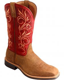 Twisted X Distressed Red Top Hand Cowgirl Boots - Square Toe