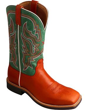 Twisted X Womens Neon Green Top Hand Cowgirl Boots - Square Toe