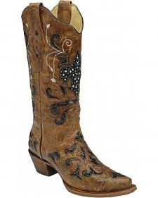 Corral Fleur-de-Lis Sequin Inlay Cowgirl Boots - Snip Toe