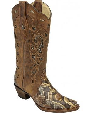 Corral Python Inlay Cowgirl Boots - Snip Toe