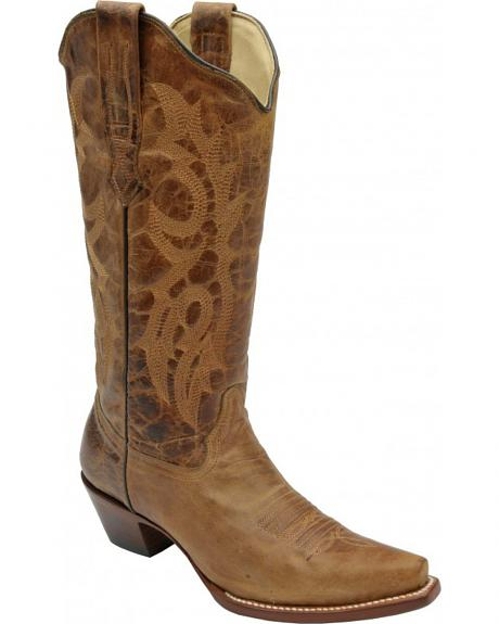 Corral Distressed Waxy Leather Fashion Cowgirl Boots - Snip Toe