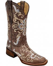 Corral Silver Sequin Cross Cowgirl Boots - Square Toe