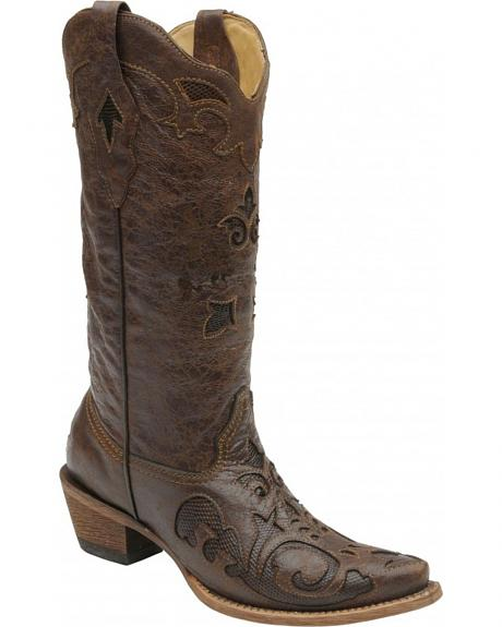 Corral Women's Vintage Lizard Inlay Cowgirl Boots - Snip Toe