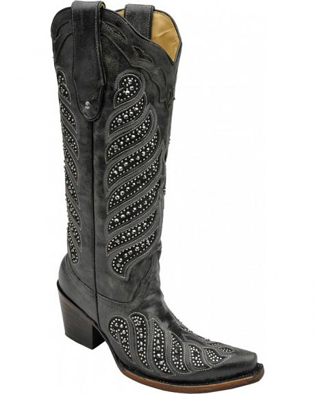 Corral Women's Crystal Inlay Cowgirl Boots - Snip Toe