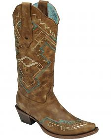 Corral Studded Southwestern Cowgirl Boots - Snip Toe