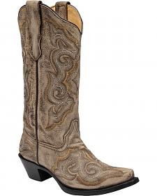 Corral Distressed Light Brown Cowgirl Boots - Snip Toe