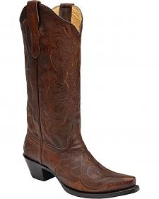 Corral Wide Stitched Cowgirl Boots - Snip Toe