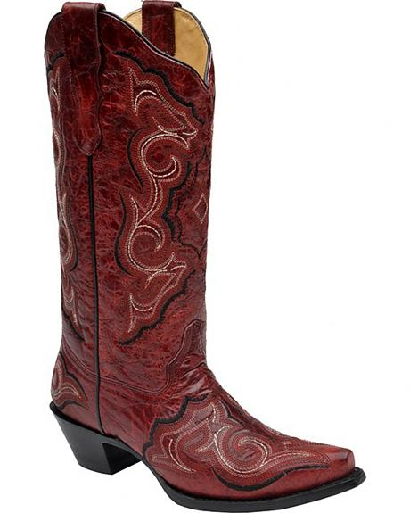 Corral Red Embroidered Cowgirl Boots - Snip Toe