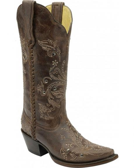 Corral Floral Whip Stitch Studded Cowgirl Boots - Snip Toe