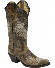 Corral Studded Whip Stitch Cowgirl Boots - Snip Toe