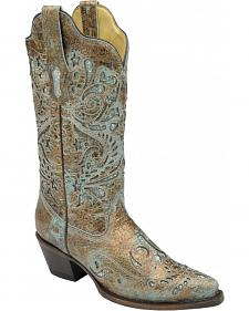 Corral Women's Turquoise Glitter Inlay Cowgirl Boots - Snip Toe