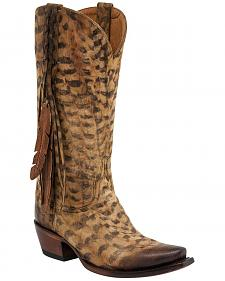Lucchese Tori Hand Tooled Feather Cowgirl Boots - Snip Toe