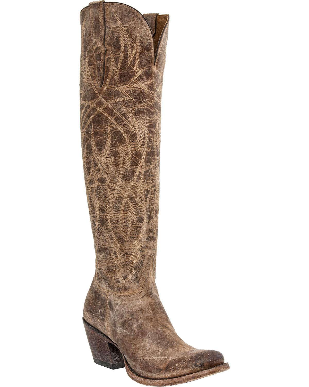 Unique Lucchese Tooled Petal Cowboy Boots (For Women) 9300Y