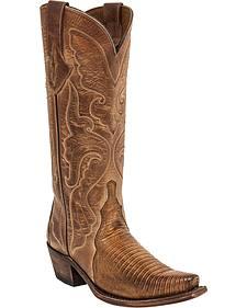 Lucchese Women's Carmen Lizard Triad Western Boots - Snip Toe