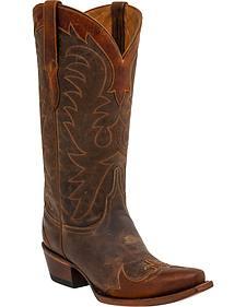 Lucchese Women's Bernadette Wingtip Cowhide Western Boots - Snip Toe