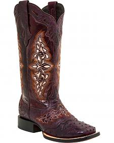 Lucchese Women's Berry Amberlyn Full Quill Ostrich Boots - Square Toe