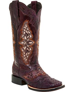 Lucchese Womens Berry Amberlyn Full Quill Ostrich Boots - Square Toe