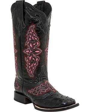 Lucchese Womens Black Amberlyn Full Quill Ostrich Boots - Square Toe