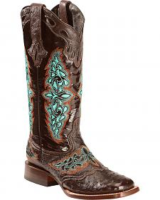 Lucchese Women's Chocolate Amberlyn Full Quill Ostrich Boots - Square Toe