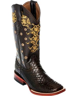 Ferrini Chocolate Python Cowgirl Boots - Square Toe