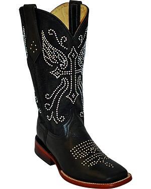 Ferrini Rhinestone Cross Cowgirl Boots - Square Toe