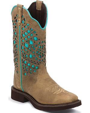 Justin Sand Gypsy Turquoise Pattern Cowgirl Boots - Square Toe