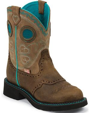 "Justin Brown Gypsy Light Blue Accents 8"" Cowgirl Boots - Round Toe"