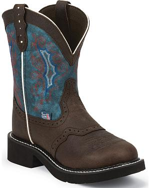 Justin Gypsy Chocolate Buffalo Cowgirl Boots - Round Toe