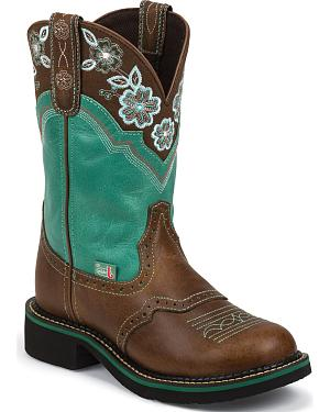 Justin Turquoise Pattern Gypsy Cowgirl Boots - Round Toe