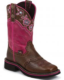Justin Magenta Pattern Gypsy Cowgirl Boots - Square Toe