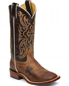Tony Lama Women's Tan Mad Dog Goat San Saba Western Boots - Square Toe